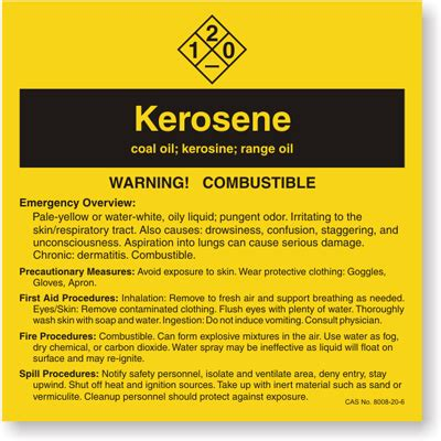 Kerosene Ansi Chemical Label Sku Lb 1584 075