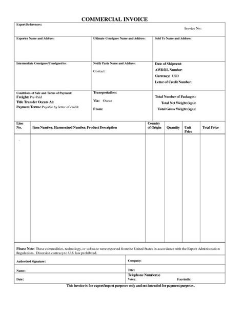 commercial export invoice sle business form