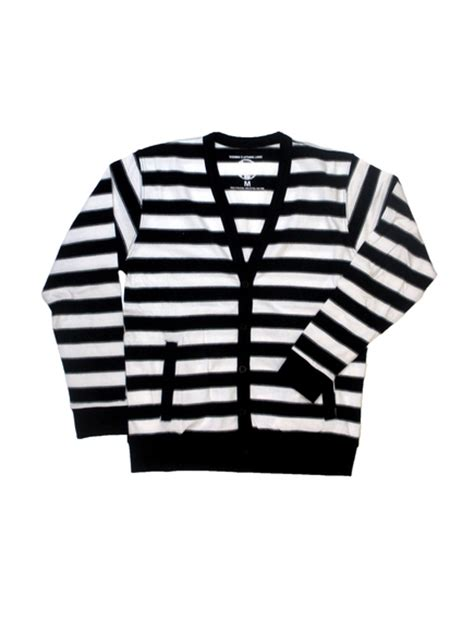 Cardigan Stripe Black White black and white striped cardigan wardrobe mag