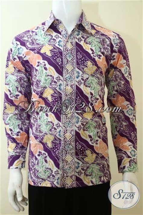 Emeja Moderen Pria Lengan Panjang Warna Ungu Size S M L pakaian batik parang bunga keren berkelas busana batik