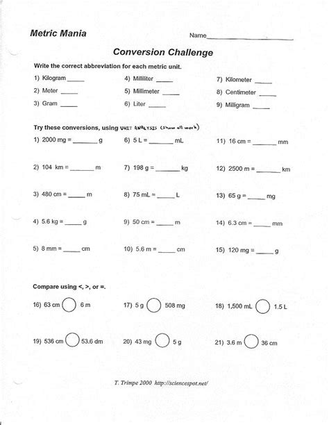 Metric Mania Worksheet metric mania and metric conversion worksheet