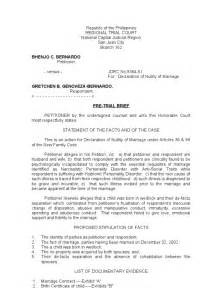Trial Brief Template by Pre Trial Brief Petition For Declaration Of Nullity Of