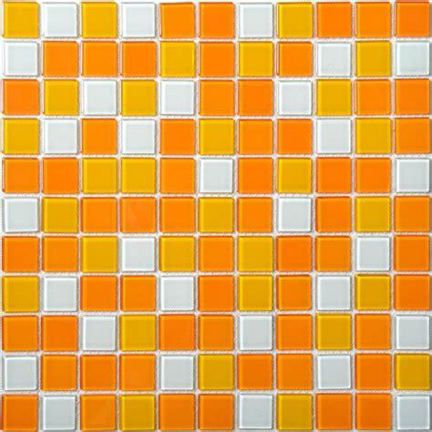Glass mosaic tiles white and orange mixed crystal glass tile kitchen backsplash wall tile