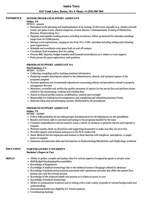 program support assistant resume sles velvet