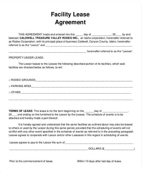 Facility Rental Agreement Template Word 9 Facility Agreement Templates Free Sle Exle Format Download Free Premium Templates