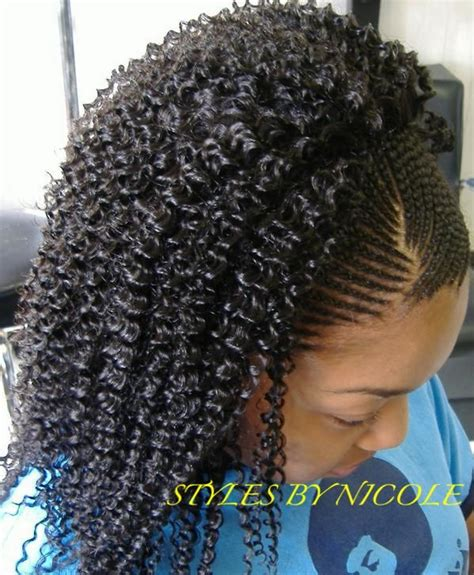 cornrows in front twists in back small braids in front w sew in jerry curl in back in