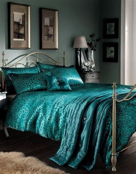 peacock blue bedroom photo detail leopard print duvet cover comforter bedding