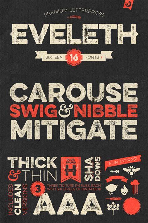font design studio eveleth vintage letterpress font family