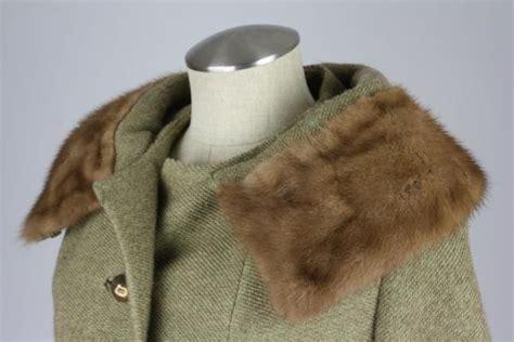 rothmoor coat vintage 60s rothmoor womens green tweed wool coat mink