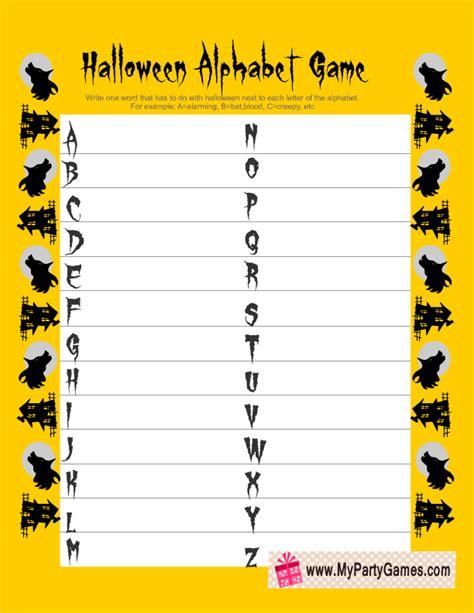 printable halloween alphabet free printable halloween alphabet game