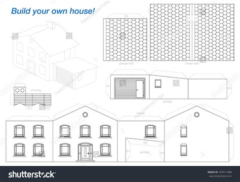 Make A House Out Of Paper - paper model house garage easy make stock vector 187911080