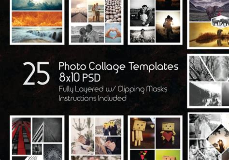8x10 Photo Collage Templates Pack 25 Psd Templates Photoshop Collage Templates Scrapbook 8x10 Album Template