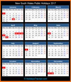 Calendar 2018 Nsw Printable New South Wales Australia Holidays 2017
