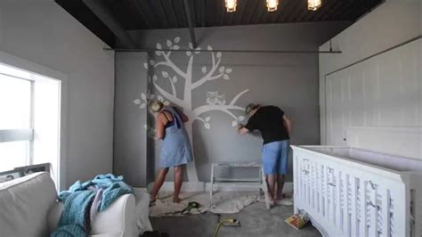 Pretty Wall Murals baby room tree and owls reverse painted to nursery rhyme