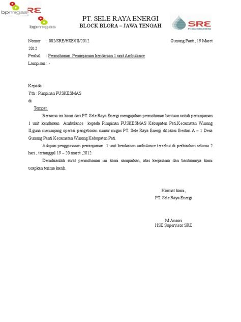Surat an Peminjaman AMBULANCE Desa Winong 2