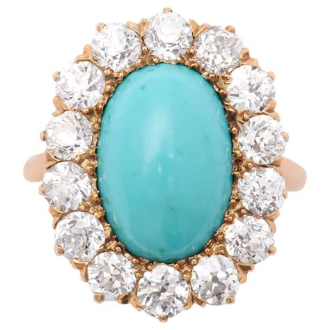 turquoise mine gold ring at 1stdibs