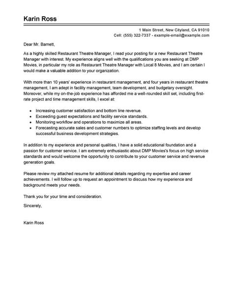 Theater Manager Sle Resume by Best Restaurant Theatre Manager Cover Letter Exles Livecareer