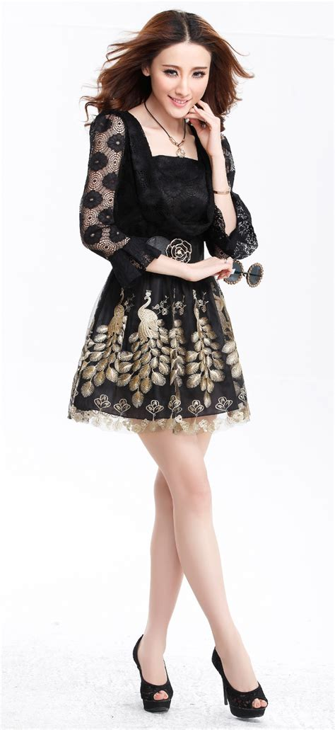 Lace Sleeve Hollow Dress With Belt color princess sleeve peacock printing dress lace hollow out waist dress with belt