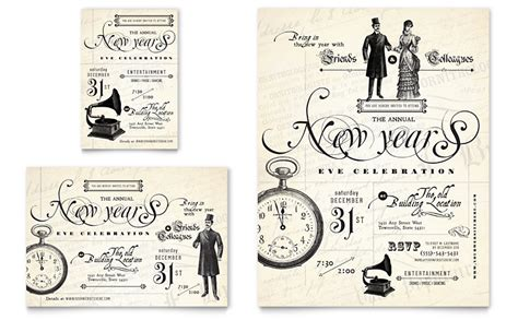 vintage templates for word vintage new year s party flyer ad template word
