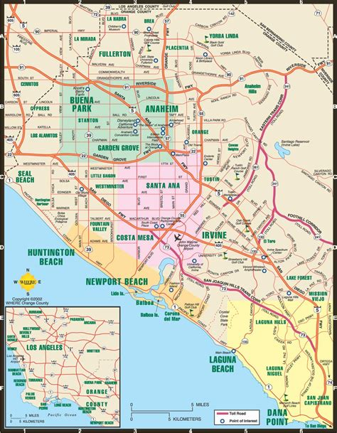 orange county california map with cities quotes los angeles ca area freeway and airport map wings