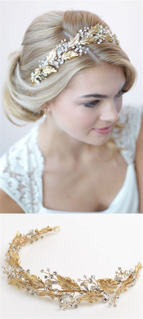 gorgeous gold botanical wedding headband perfectly accents this timeless bridal updo