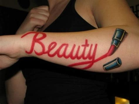 cosmetology tattoos i like the idea of a and writing in lipstick not