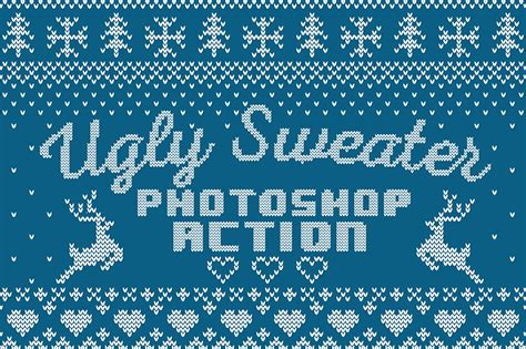 christmas pattern font family ugly sweater photoshop action actions creative market