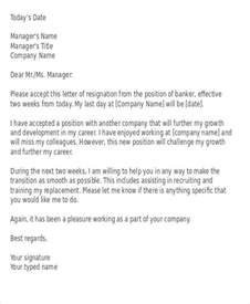 Resignation Letter Sle Bank Manager 41 Resignation Letter Templates In Doc Free Premium Templates