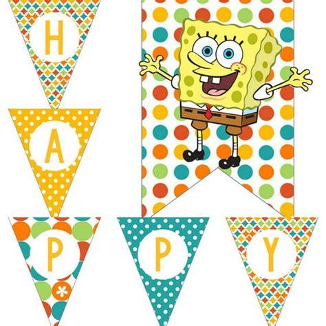 printable spongebob birthday banner bobs birthdays and yellow on pinterest