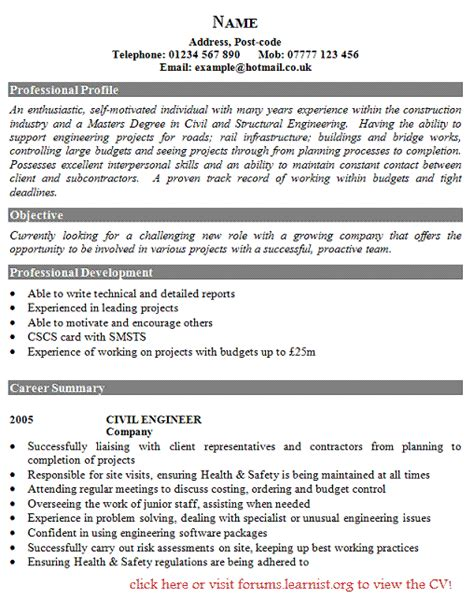 Civil Engineering Resume Templates by Best Cv Sle For Civil Engineer