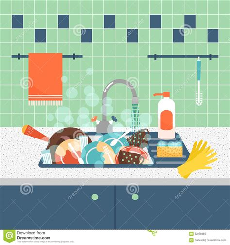 Preschool Floor Plan Kitchen Sink With Dirty Kitchenware And Dishes Stock