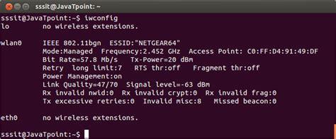 linux tutorial javatpoint linux iwconfig javatpoint