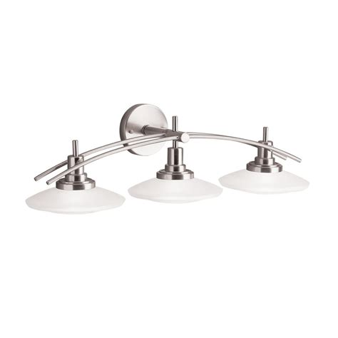 nickel bathroom light fixtures kichler lighting 6463ni structures wall mount 3 light halogen bath light with glass shades