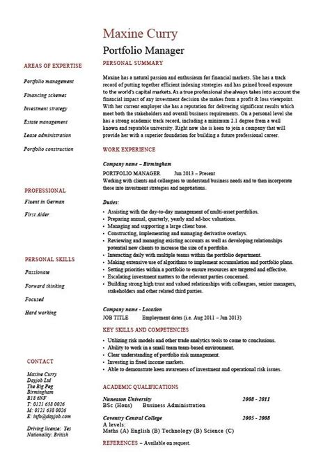 Resume Portfolio by Portfolio Manager Resume Investments Cv Description