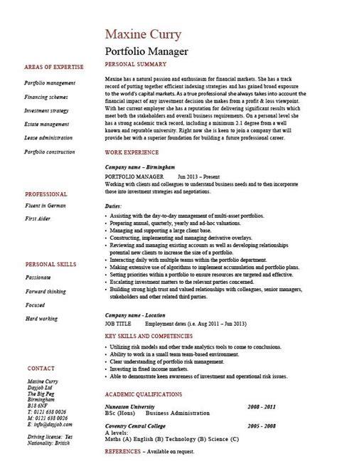 Portfolio manager resume, investments, CV, job description