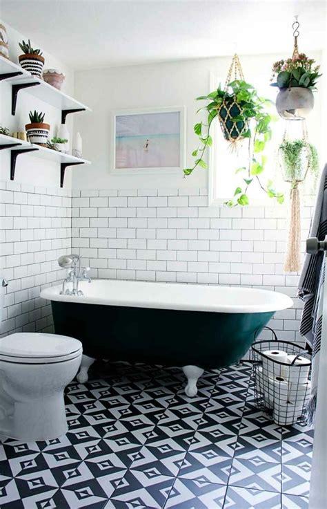 badezimmer fliesen 30er jahre mit zimmerpflanzen das zuhause dekorieren 60 beispiele
