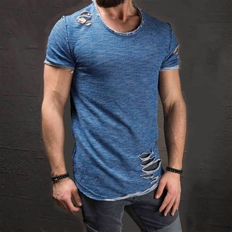 Ripped Slim Fit fiit24 169 ripped holes crew neck slim fit t shirt