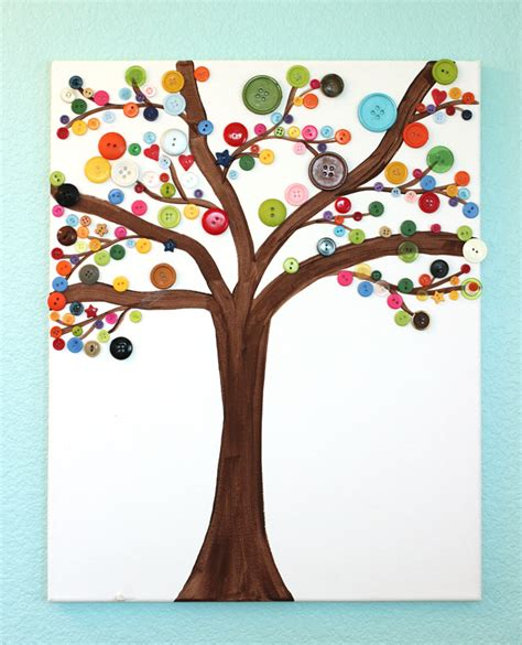 arts and crafts tree craft button