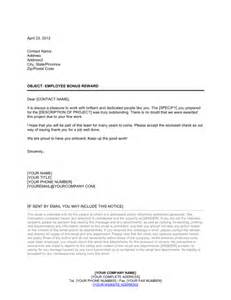 Offer Letter Bonus Company Bonus Letter Template Sle Form Biztree