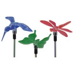 solar garden light set dragonfly hummingbird butterfly