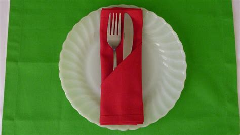 Simple Napkin Origami - napkin folding simple pocket