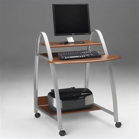 eastwinds mobile wood and metal computer desk with shelf