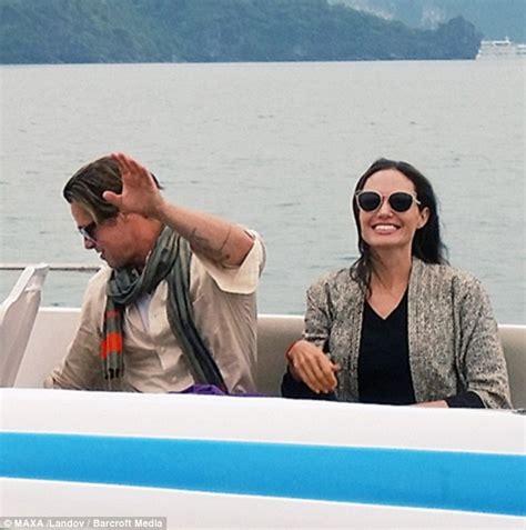 film romance vietnam angelina jolie and brad pitt smile during romantic kayak