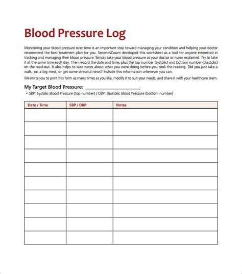 Blood Pressure Template blood pressure log template 10 free word excel pdf
