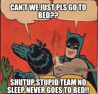 Team No Sleep Meme - meme creator can t we just pls go to bed shutup stupid