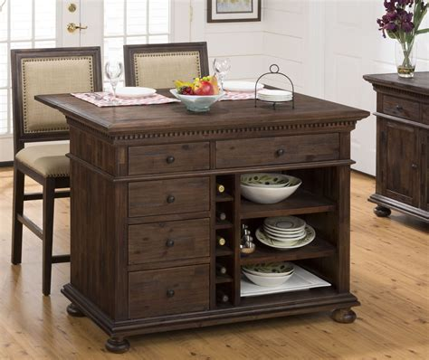 kitchen island set geneva hills rustic brown extendable kitchen island set