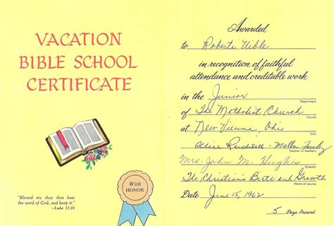 vacation bible school certificate templates certificate of attendance free search results calendar