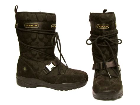 coach sela signature brown suede leather vibram sole snow