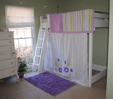 loft bed curtains ana white girls twin loft bed with curtain diy projects