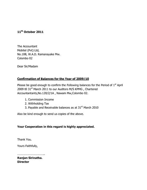 audit confirmation letter format best template collection